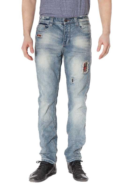 Ανδρικό jean παντελόνι με σκισίματα και καρό μπαλώματα