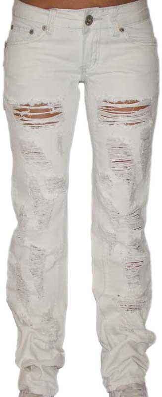 Γυναικείο λευκό τζιν παντελόνι με σκισίματα