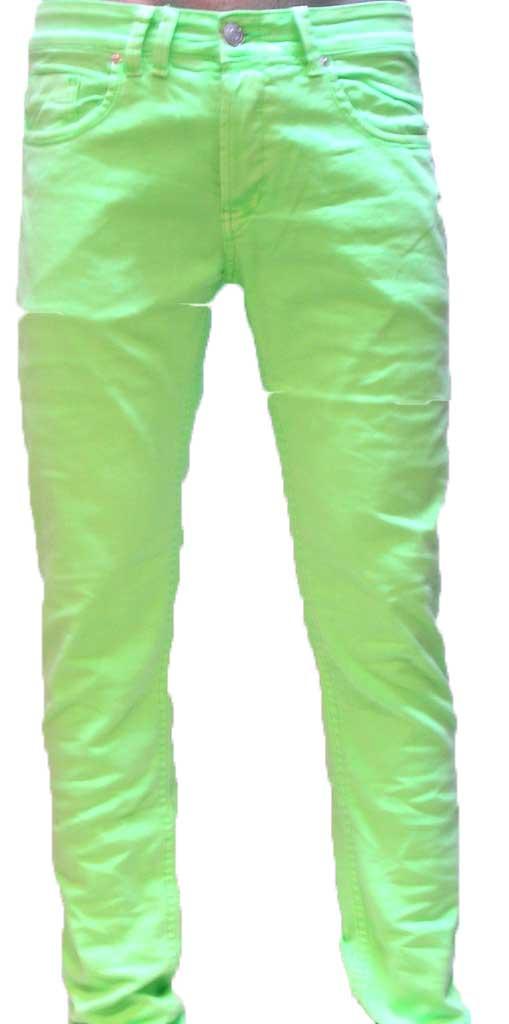 Men's color denim neon green