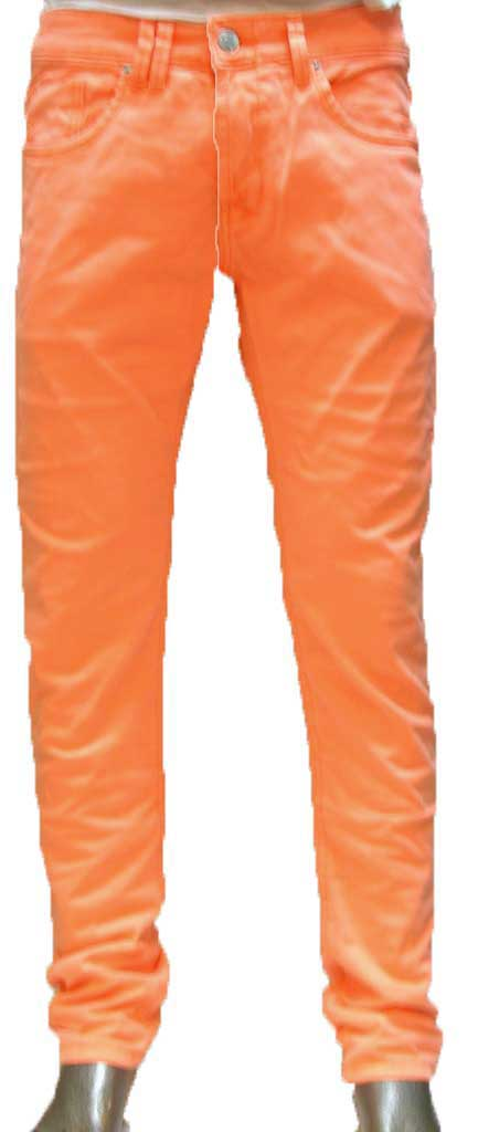 Men's color denim neon orange