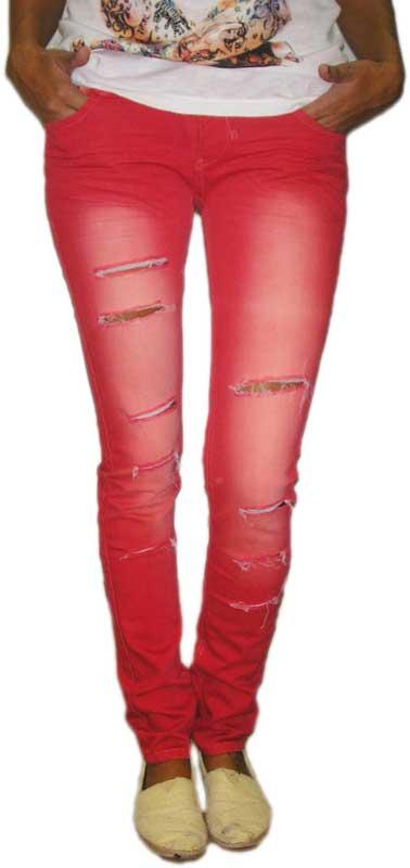 Γυναικείο jean με σκισίματα κόκκινο