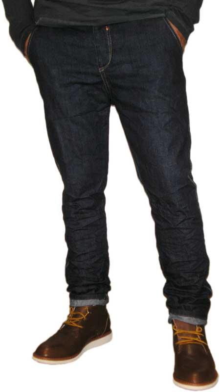 Ανδρικό chino jean σκούρο μπλε ξέβαμα