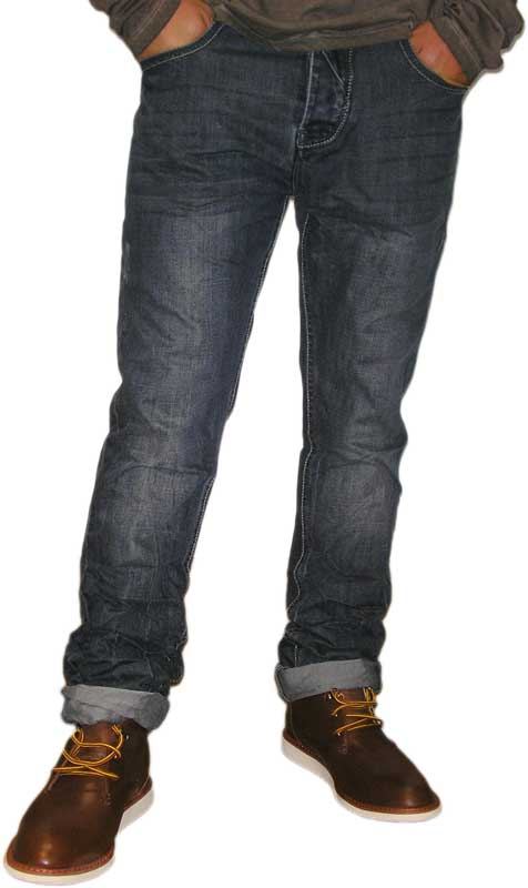 Ανδρικό jean σκούρο μπλε ξέβαμα με φθορές