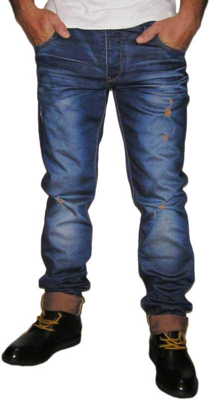 Ανδρικό jean με κοντράστ γύρισμα και εκδορές