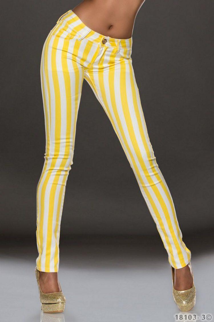 Ριγέ τζιν παντελόνι - Κίτρινο Άσπρο
