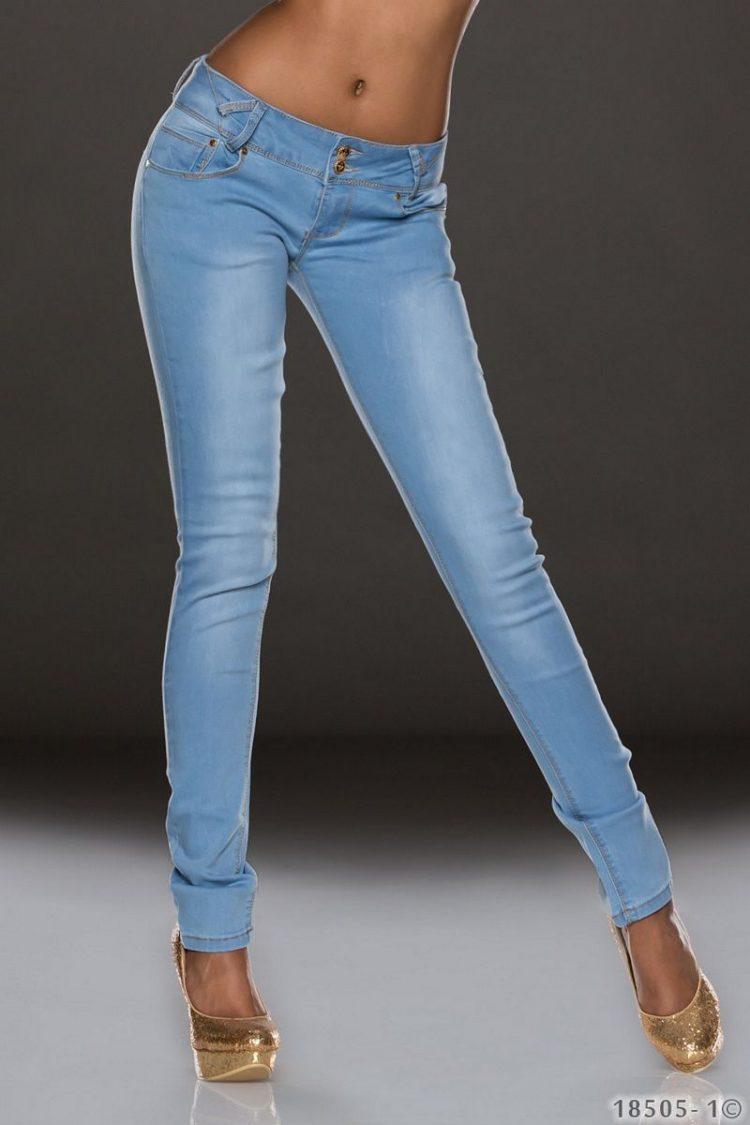 Ανοιχτόχρωμο εφαρμοστό τζιν παντελόνι - Μπλε