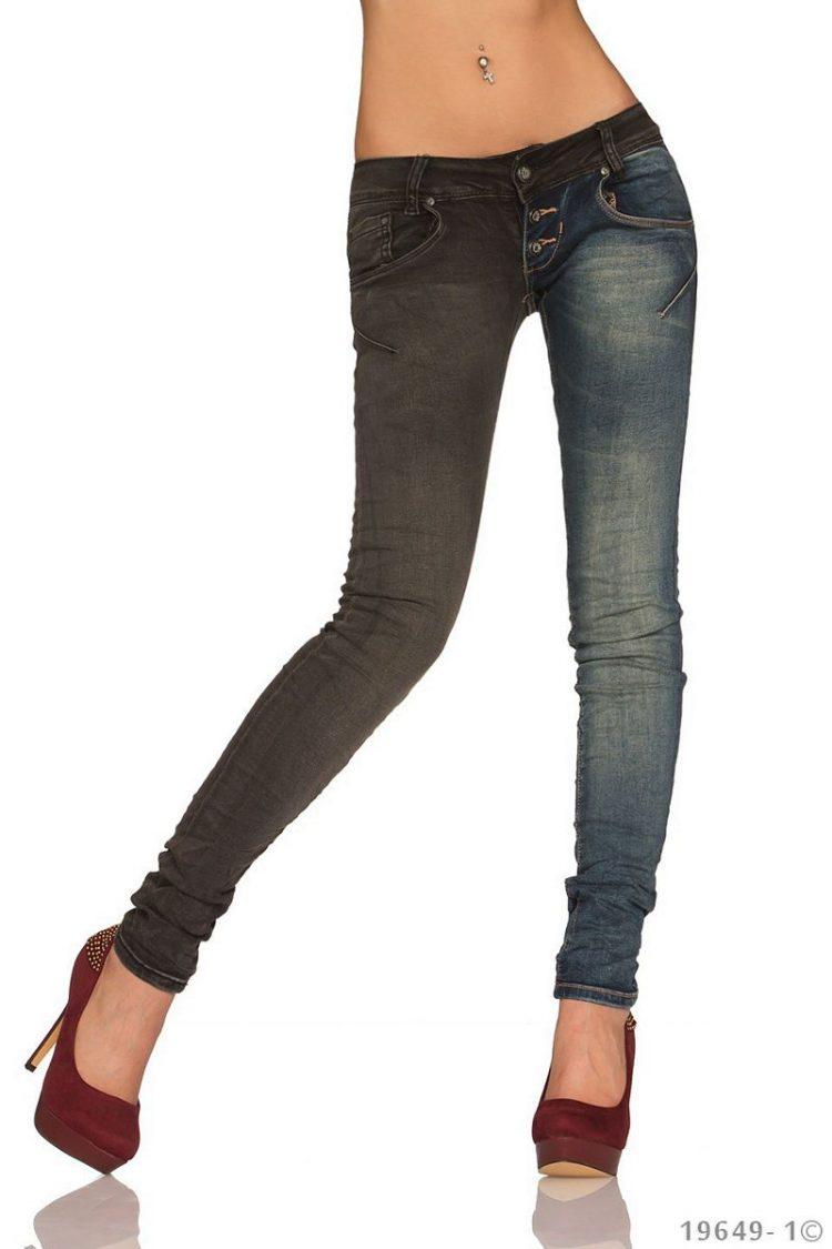 Δίχρωμο εναλλακτικό τζιν παντελόνι - Ανθρακί Μπλε