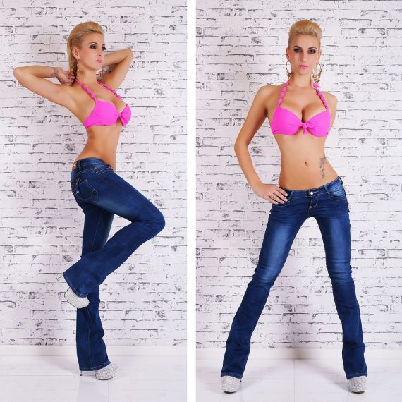 Χαμηλοκάβαλο τζιν παντελόνι καμπάνα - Μπλε