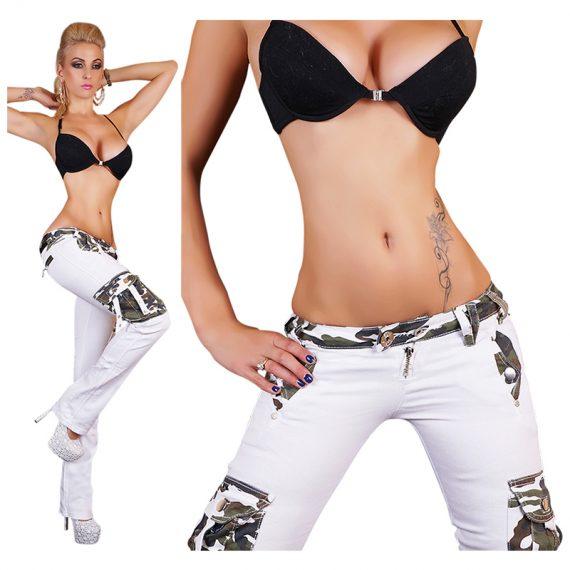 Χαμηλοκάβαλο τζιν παντελόνι καμπάνα - Άσπρο Καμουφλάζ