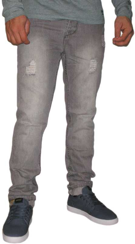 Ανδρικό jean με σκισίματα ξεβαμένο γκρι