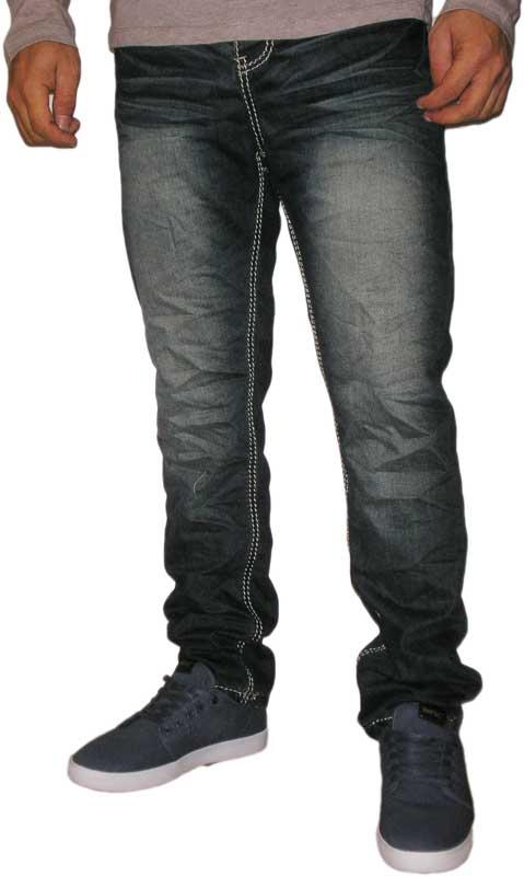 Ανδρικό ξεβαμένο σκούρο μπλε jeans