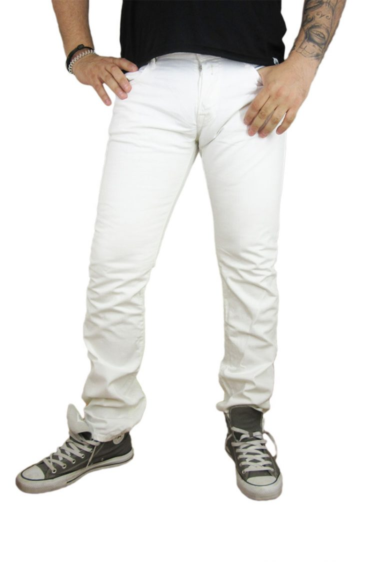Replay ανδρικό jean λευκό slim fit