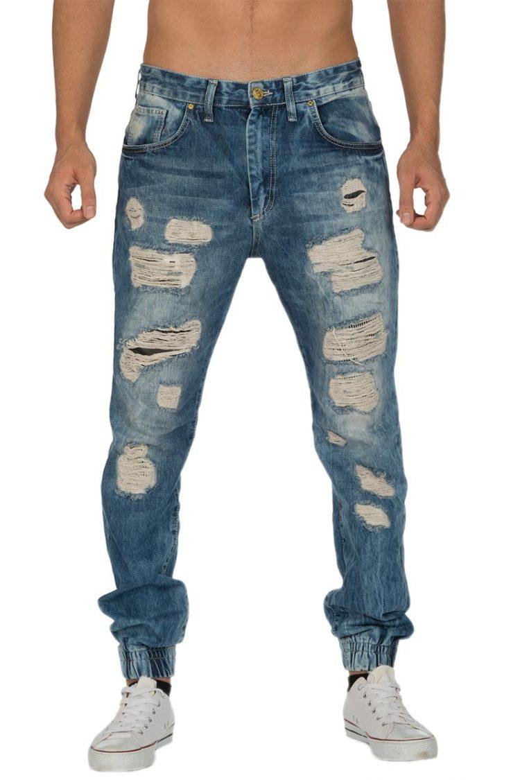 Perver ανδρικό jean με σκισίματα και λάστιχο κάτω