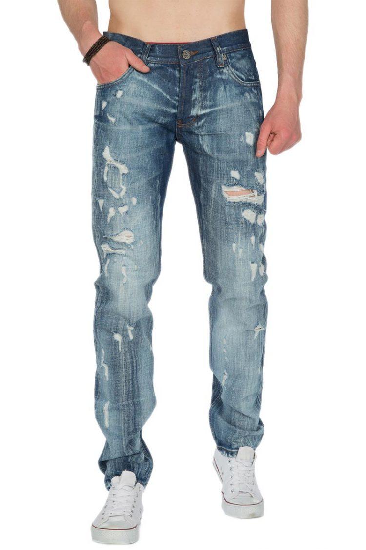 Ανδρικό slim fit παντελόνι jean με σκισίματα