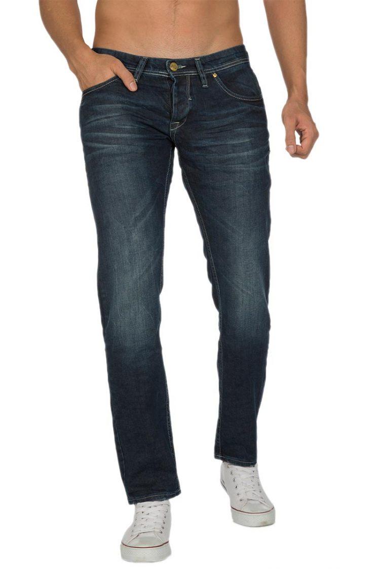 Ανδρικό παντελόνι jean σκούρο μπλε ξέβαμα