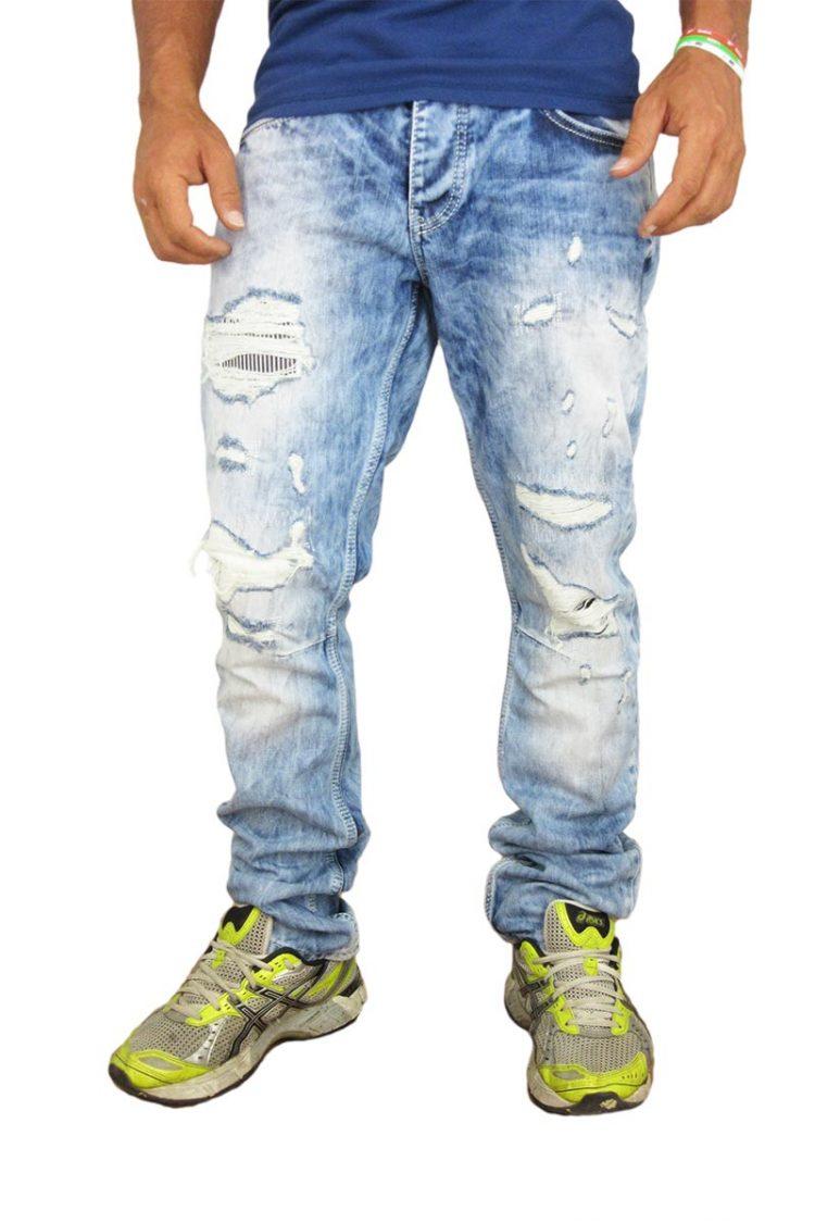 Ανδρικό jean παντελόνι ξεβαμμένο με σκισίματα