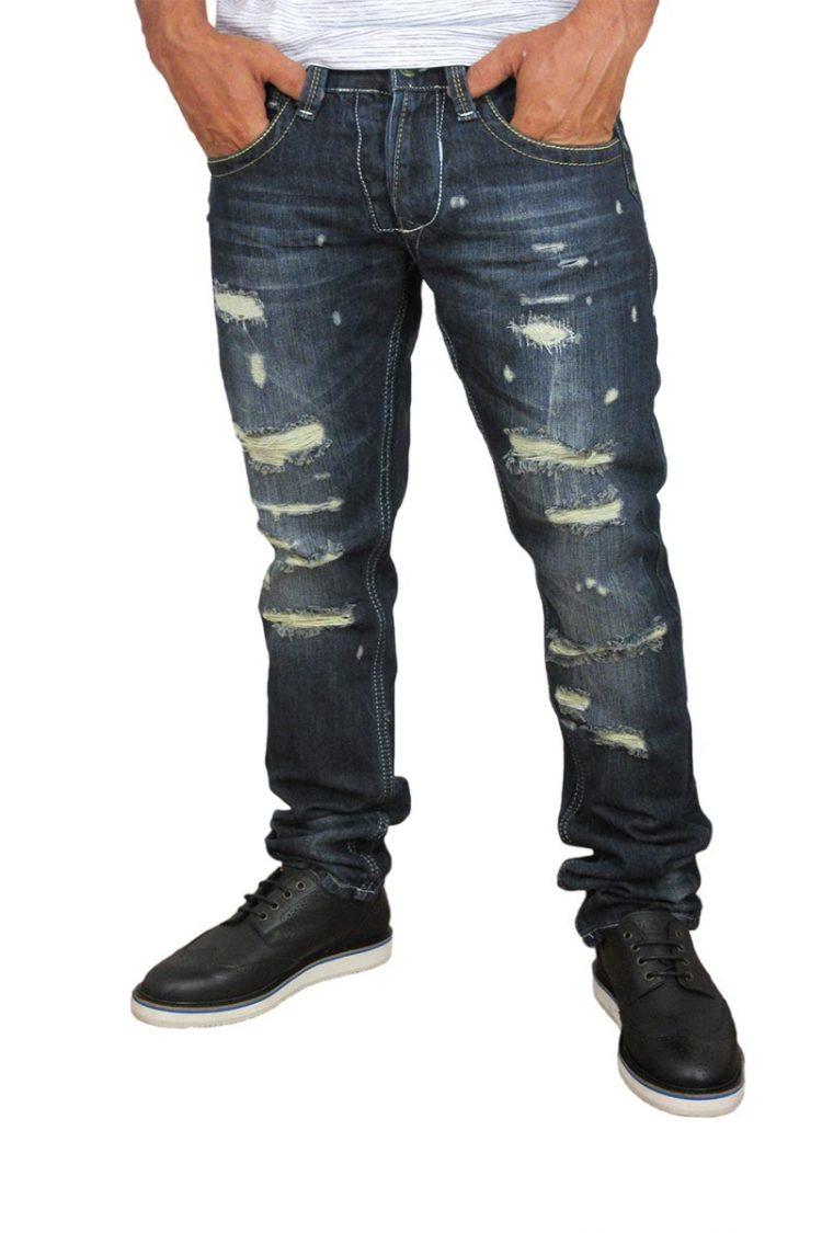 Ανδρικό jean με σκισίματα σε σκούρο ξέβαμα