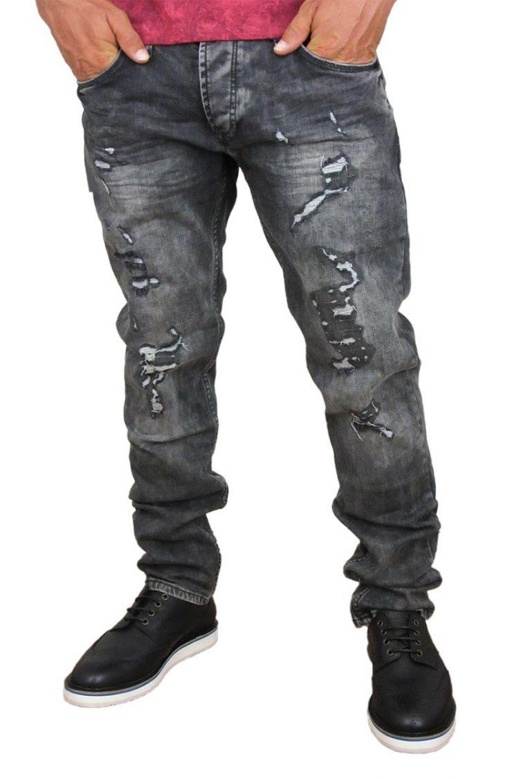 Ανδρικό παντελόνι jean ξεβαμμένο μαύρο με σκισίματα