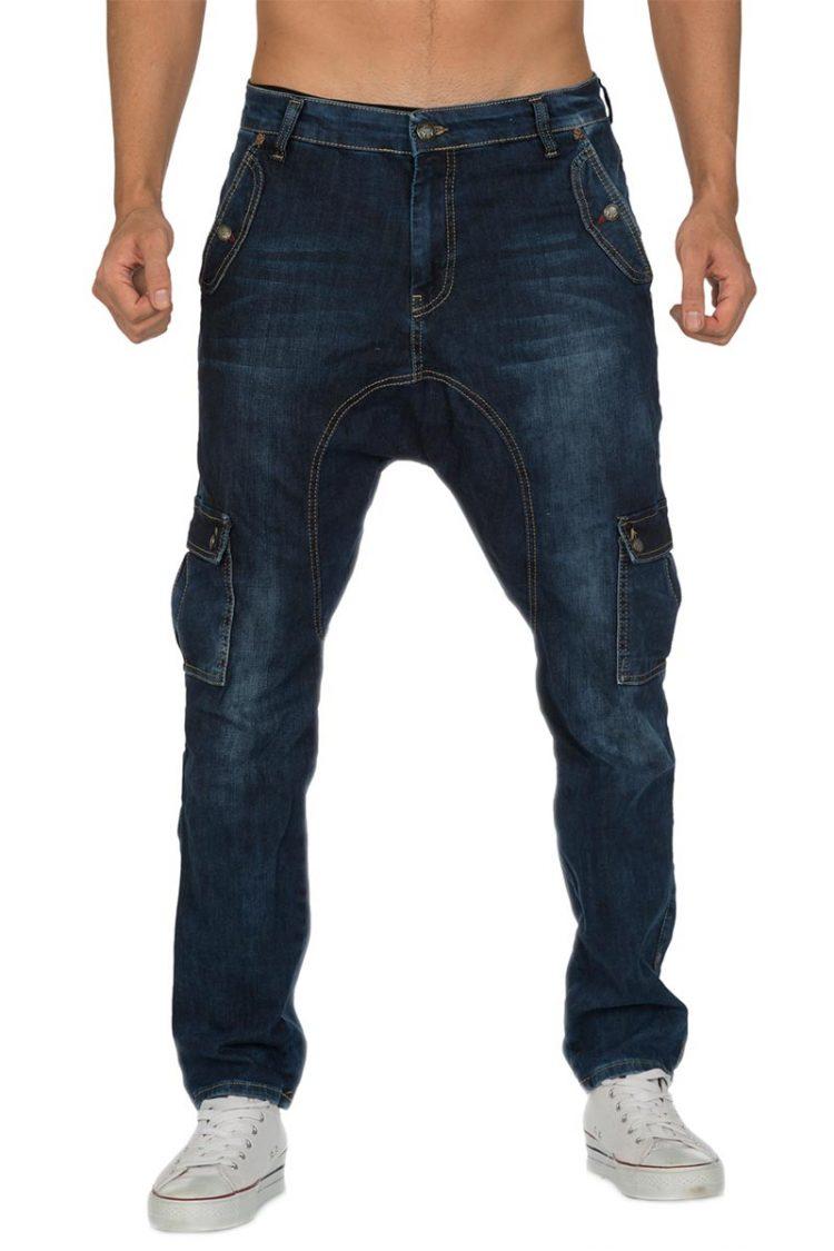 Ανδρικό παντελόνι jean βράκα σε σκούρο ξέβαμα