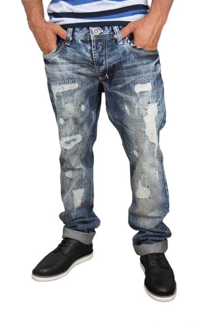 Ανδρικό jean με σκισίματα και γαζιά