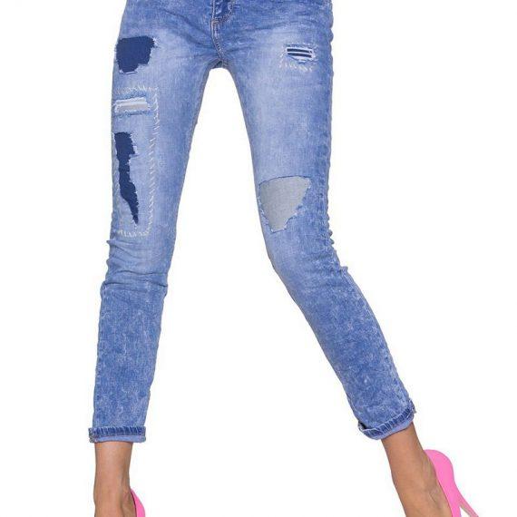 Boyfriend τζιν παντελόνι με μπαλώματα - Μπλε