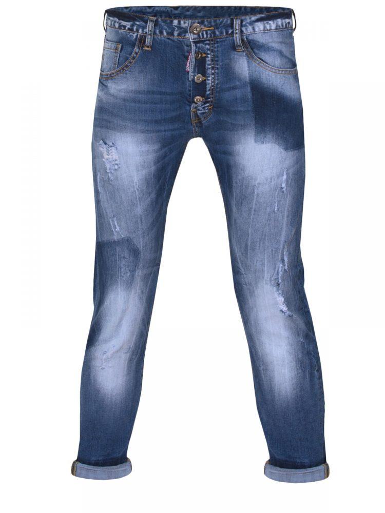 Super Skinny Τζίν Παντελόνι με Εξωτερικά Κουμπιά Φθορές και Ρεβέρ