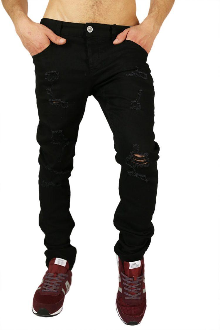 Anerkjendt Jean ανδρικό jean μαύρο με σκισίματα