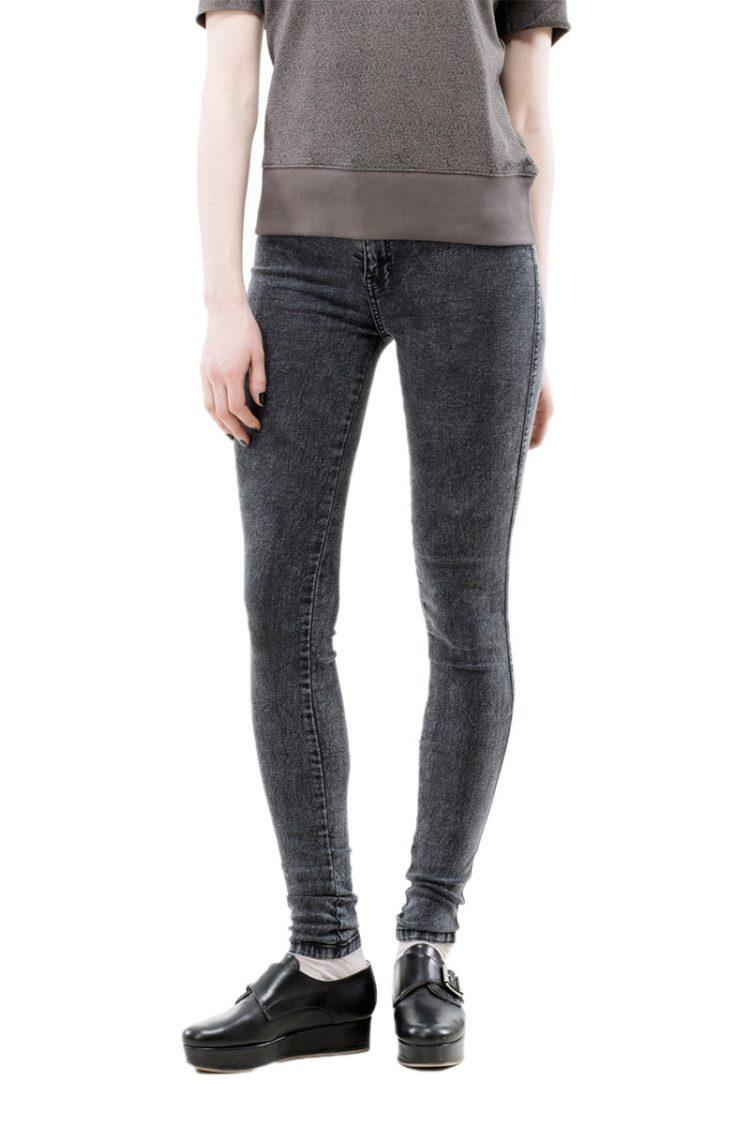 Dr Denim γυναικείο ψηλόμεσο skinny jeans Plenty μαύρο πετροπλυμένο