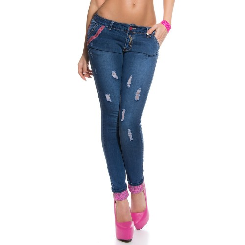 Jeans with pink lace K600-223