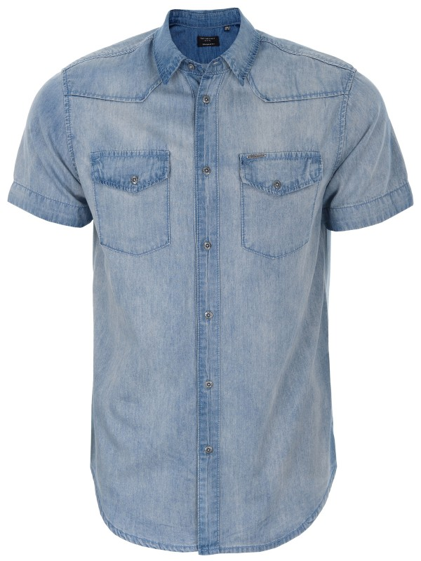 TOP SECRET κοντομανικο τζιν πουκαμισο