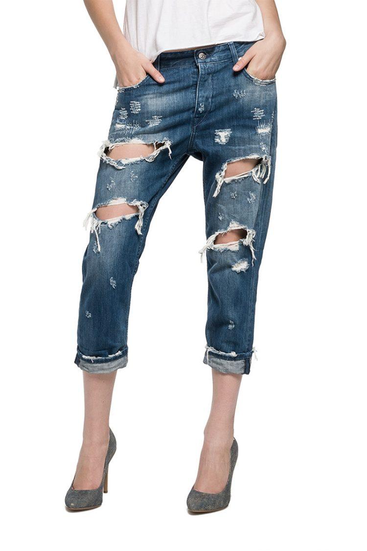 Replay γυναικείο κάπρι jeans Gracelly με σκισίματα