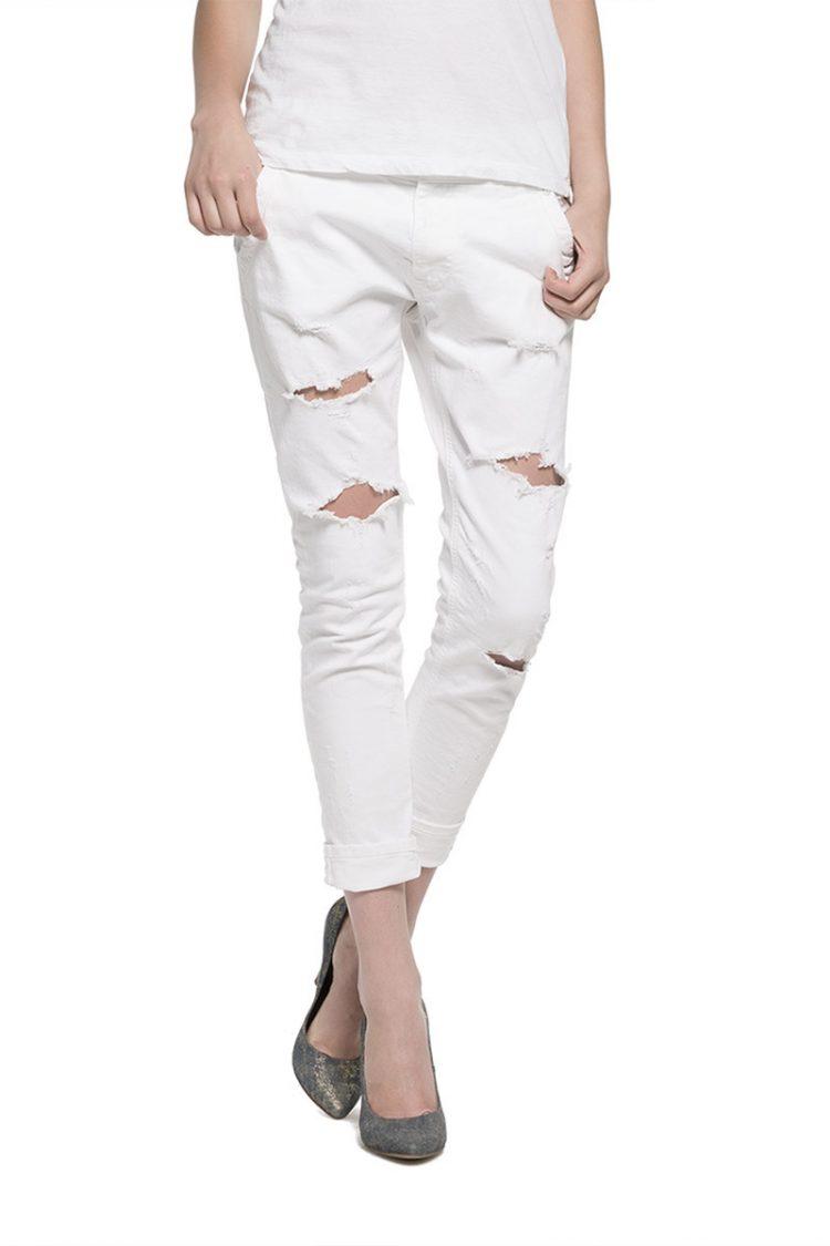 Replay γυναικείο λευκό slim jeans Denice με σκισίματα