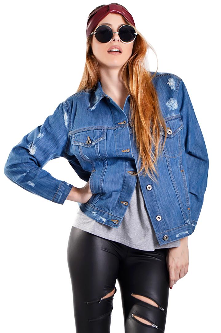 Premium τζιν jacket με σκισίματα