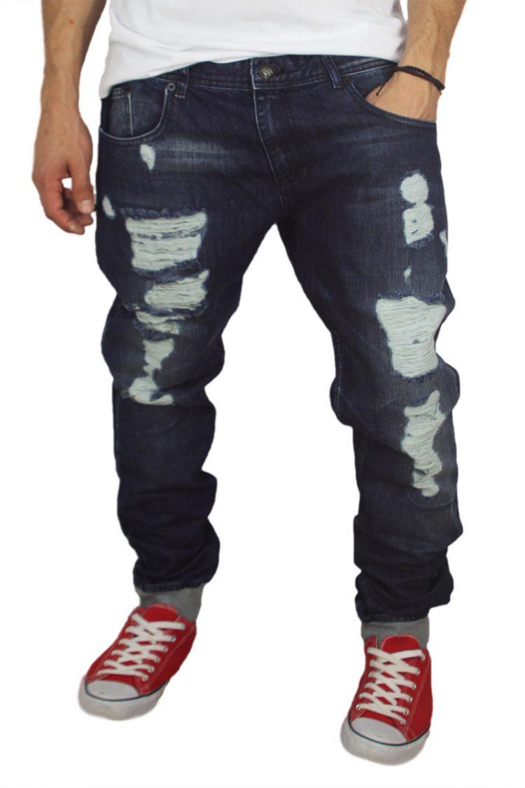 Ανδρικό jean με σκισίματα και λάστιχο κάτω