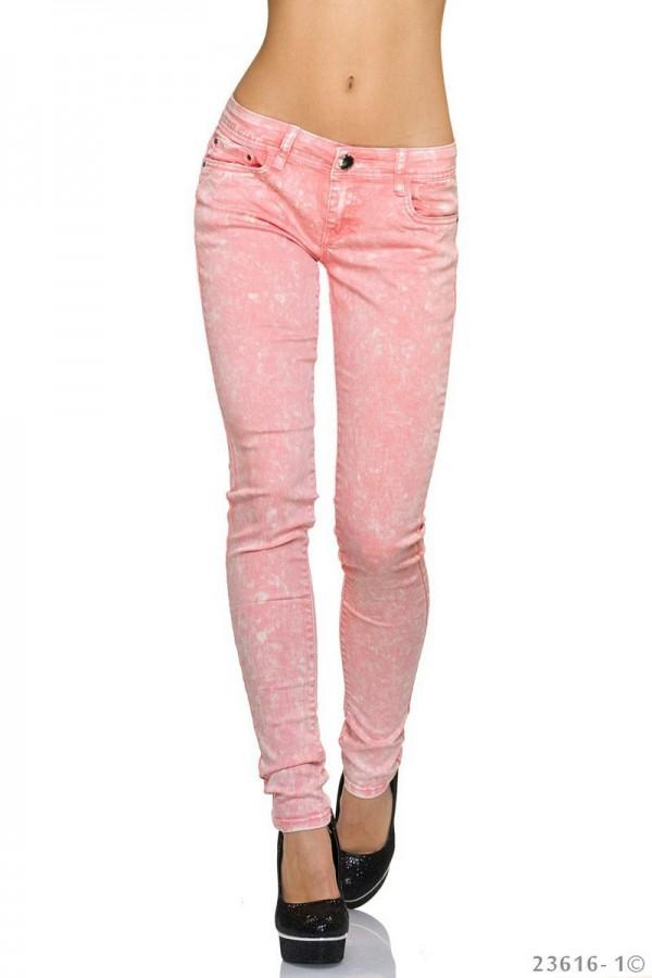 Πετροπλυμένο εφαρμοστό τζιν παντελόνι - Ροζ