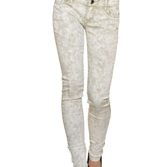 Πετροπλυμένο εφαρμοστό τζιν παντελόνι - Μπεζ