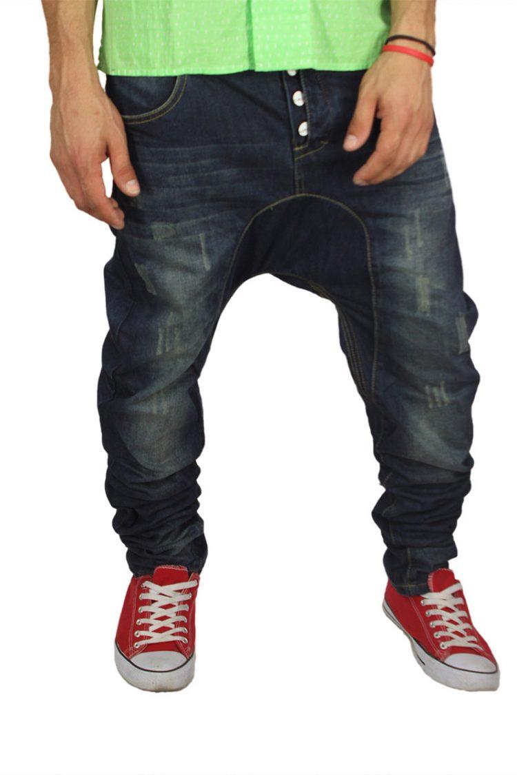 Humor Santiago ανδρικό jean σκούρο μπλε ξέβαμα με εκδορές