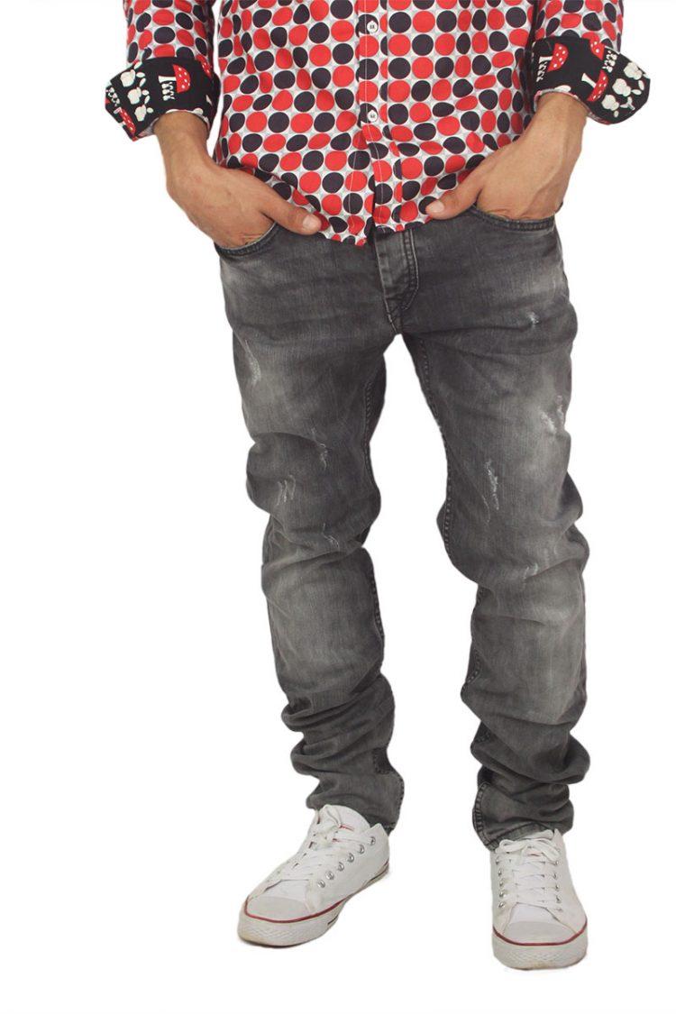 Ανδρικό jean γκρι ξεβαμμένο με μικροεκδορές