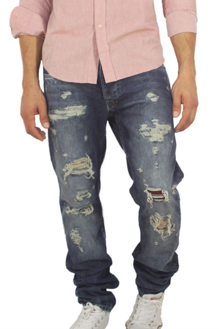 Ανδρικό slim fit jean με σκισίματα