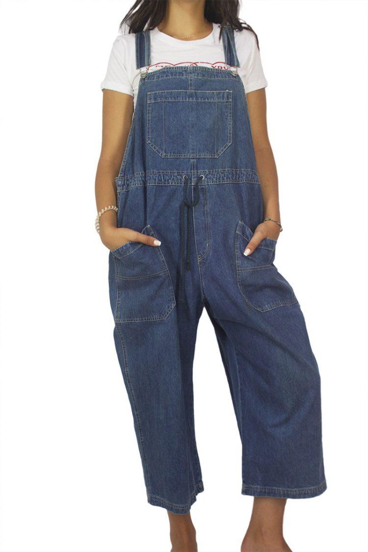 90s vintage denim gropped overall blue
