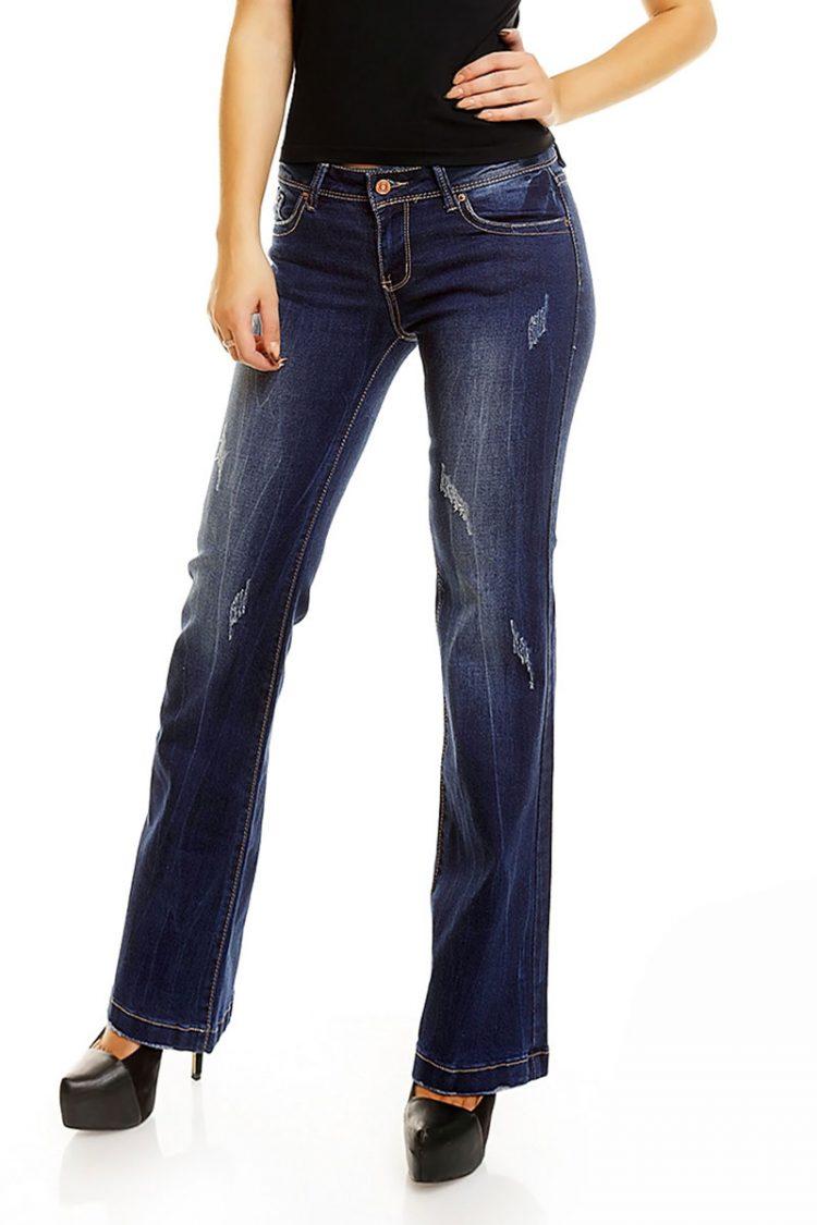 Τζιν παντελόνι καμπάνα με εκδορές