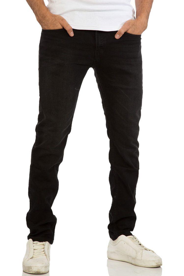 Ανδρικό ελαστικό denim μαύρο ξεβαμμένο