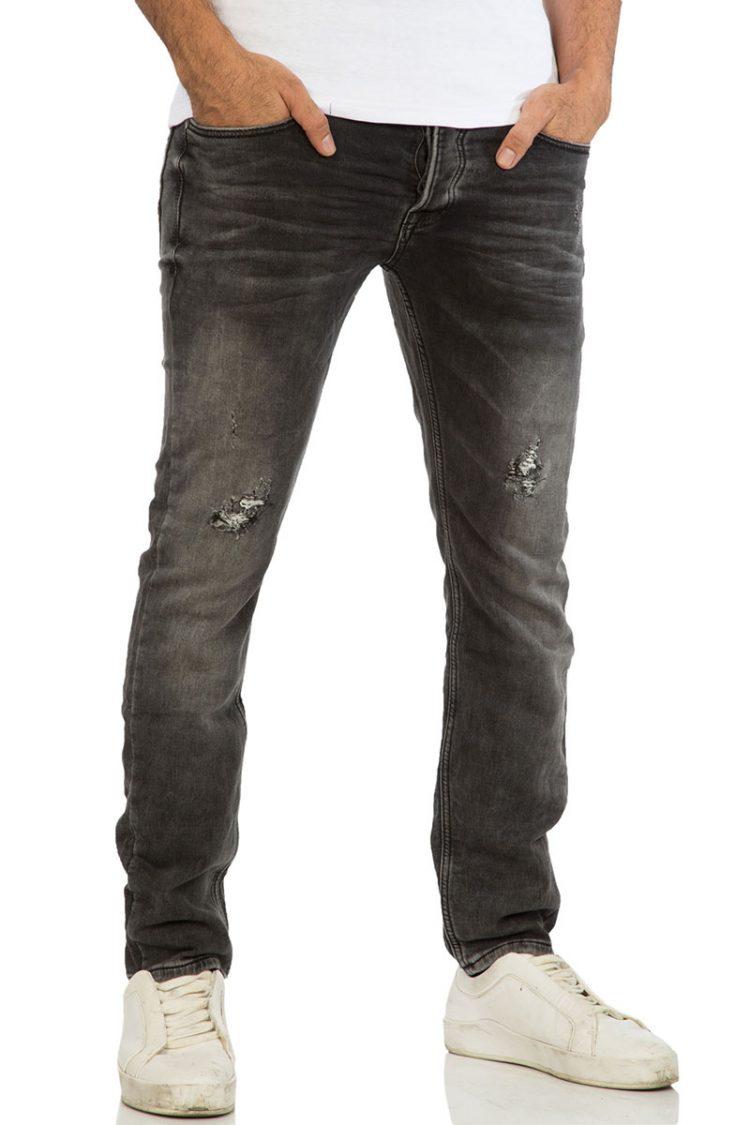 Ανδρικό jean γκρι με σκισίματα