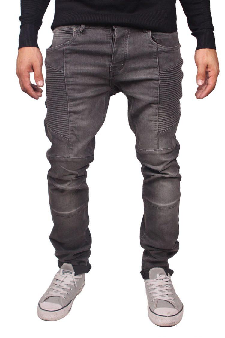 Ryujee Jalen biker jeans ξεβαμένο γκρι