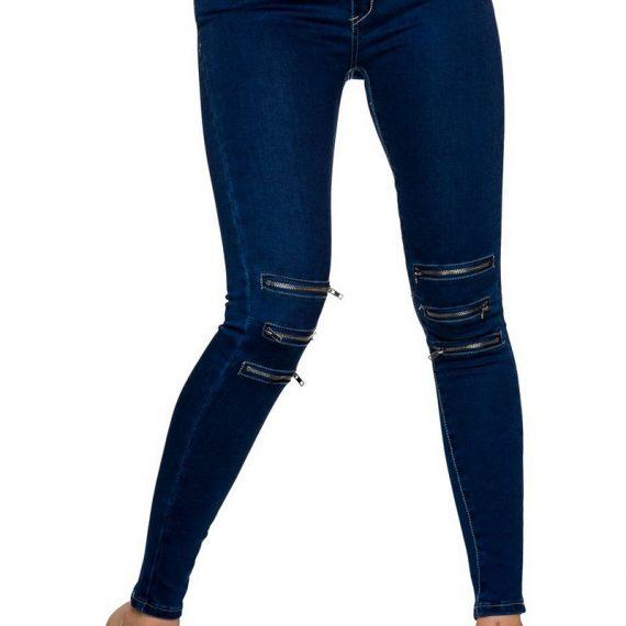 Stretch τζιν παντελόνι με φερμουάρ - Μπλε
