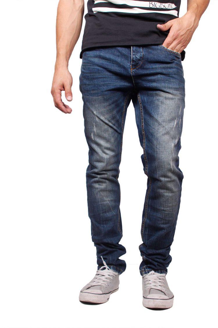 Humor slim fit jeans Dukky ξεβαμμένο με εκδορές