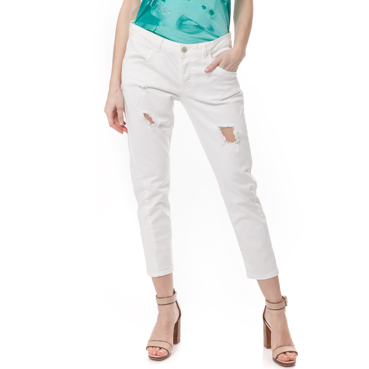 GUESS - Γυναικείο τζιν παντελόνι Guess λευκό