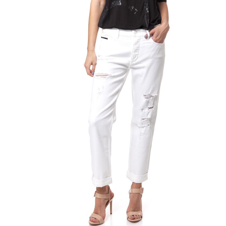 CALVIN KLEIN JEANS - Γυναικείο τζιν παντελόνι Calvin Klein Jeans λευκό