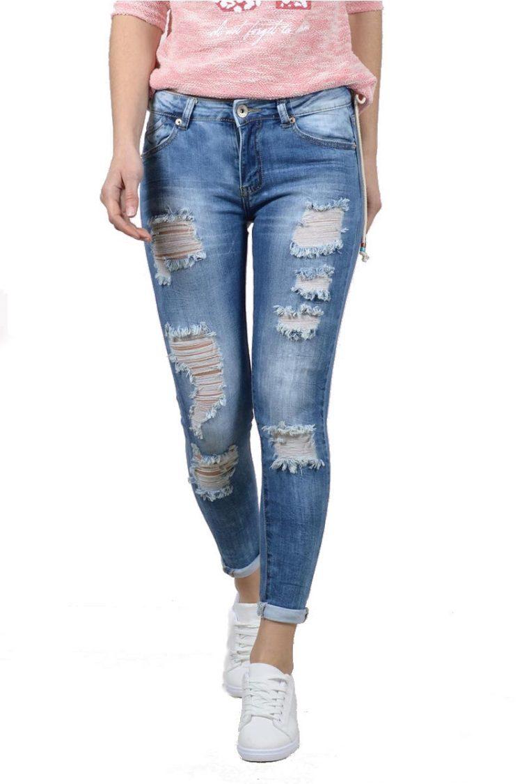 Ξεβαμμένο τζιν παντελόνι με σκισίματα - Μπλε