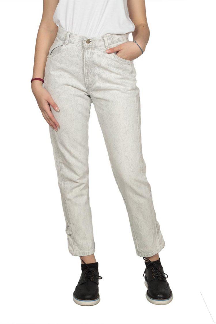 Εκρού ξεβαμμένο mom jeans